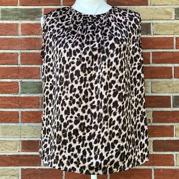 🐆 Tahari Arthur S. Levine Leopard Sleeveless Top